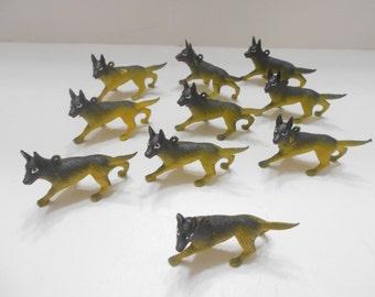 Ten (10) Vintage Plastic Wolves (BP)