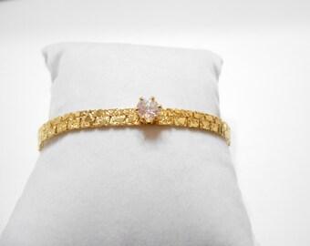 Vintage Brushed Gold Tone & Rhinestone Bracelet (1700)