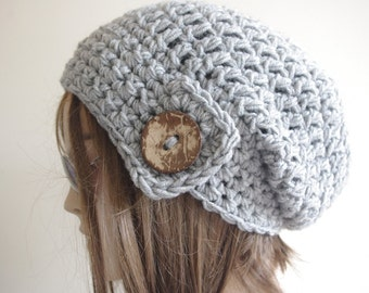 Hats, GIFT for Womens hat - chunky knit Slouchy gray  Beanie Slouch Hat Fall Winter Beanie Autumn