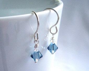 Swarovski Blue Crystal Earrings, Small Drop Earrings, Sterling Silver Dangle Earrings