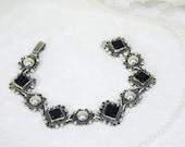 Vintage Mexico Sterling Onyx Bracelet Vintage Mexico Silver Bracelet 925 Sterling Bracelet Gifts for Her