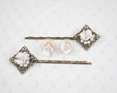 White Rose and Faux Pearls Hair Pins and Earring Pair of Dainty Rose Hair Clips and Rose Earrings Perfect for a Wedding
