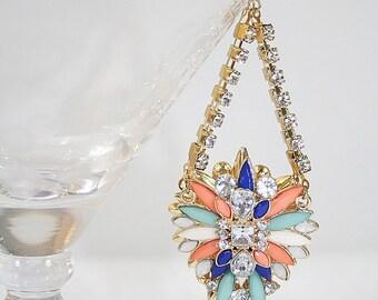 Statement Earrings Art Nouveau Style Rhinestone Earrings Shoulder Duster Wedding Earrings Diva Earrings