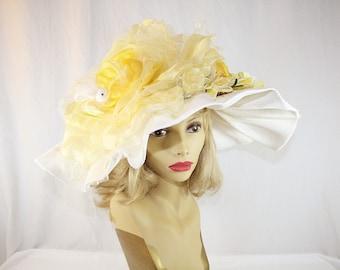 Yellow Rose Kentucky Derby Hat Rose Wedding Hat Garden Party Hat Yellow Flower Wide Brim Hat