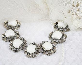 Vintage Milkglass and Rhinestone Bracelet Vintage Bracelet For Any Occasion White Bracelet Day to Night Bracelet