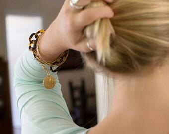 Monogram Tortoise Bracelet with Gold Tone Personalized Pendant for Women Mother Bridesmaid Present
