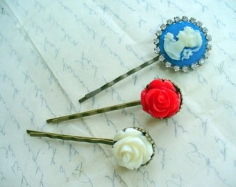 4th of July, Red, White, Blue Hairpin, Antique Brass, Hair Clip, Hair Accessories, Blue and White Lady Cameo, Rose, Patriotic, Summer