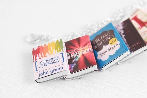 John Green Miniature Book Bracelet - The Fault in Our Stars Jewelry, Doll House Book Miniatures, Geek Gift, DFTBA
