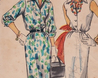"FF 1955 Misses' Slim Dress Vintage Sewing Pattern - Simplicity 1114 - 50s Sheath Dress, Size 14, Bust 32"", UNCUT"