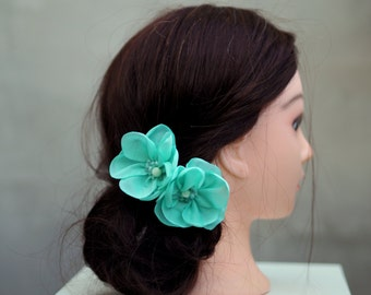 Hair Flower Set, Mint Hair Pins, Floral Bobby Pin, Bridesmaid Hair Pins, Mint Bobby Pins, Aquamarine Hair Accessory