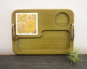 Georges Briard snack tray with ceramic floral trivet serving tray cheese platter green wood mid century