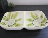 Red Wing Magnolia divided snack server dish vintage redwing serving bowl green gray white flowers