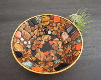 Mid century gold and tile mosaic bowl with black grout vintage boho decor
