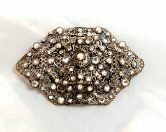Large Victorian Era Rhinestone and Possibly Sterling Brooch