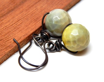 Rustic Copper Earthy Agate Earrings, Agate Jewelry Gift For Her, Organic Agate Jewelry, Under 15