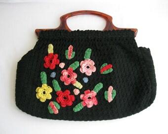 vintage. HANDBAG. crochet. FLORAL. multi color. BLACK. 1940s