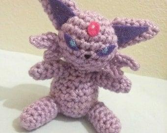 Espeon Inspired Crochet Amigurumi Doll - Stuffed/Plush Toy