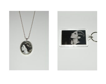 Barbra Streisand Glass Pendant Necklace and/ or Keychain
