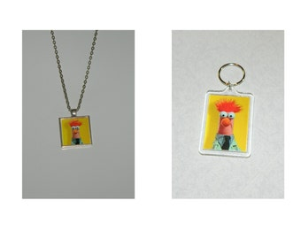 Muppets Beaker  Keychain or Glass pendant Necklace