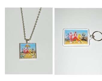 Power rangers Glass Pendant Necklace and/ or Keychain
