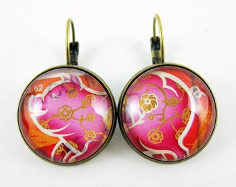 Pink and Gold Year of the Pig Leverback Earrings, Postage Stamp Jewelry, Birthday Gift Idea, OOAK Pretty Fashion Statement, For Her