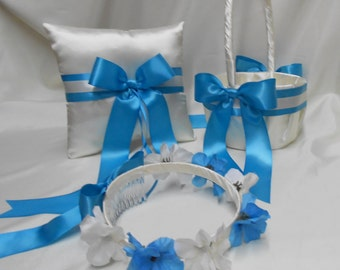 Ivory Turquoise Malibu Blue Wedding Accessories  Bridal Ring Bearer Pillow Flower Girl Basket  Halo Wreath Your Colors FREE SHIPPING