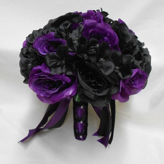 Black Wedding Flowers: Wedding Silk Flower Bridal Bouquet Purple Black Roses