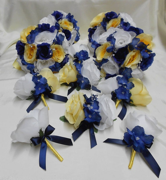 Black And Yellow Wedding Flowers: Wedding Navy Blue Yellow Grey Silver Bridal Bouquet By