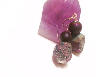 Purple/Blue Druzy Quartz Earrings on 14k gold filled wire