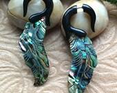 "Fake Gauge Earrings, ""Sea Opal Feathers"" Natural, Horn, Paua Shell, Handcrafted, Tribal"