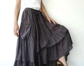 NO.42 Gray Lavender Cotton Maxi Skirt, Peasant Skirt  (2 Options skirt)