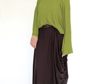 NO.161 Lime Green Cotton-Blend Jersey Classic Batwing Sleeve Scoop Neck Top