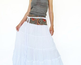 NO.36 White Cotton Tiered Peasant Skirt, Long Maxi Skirt