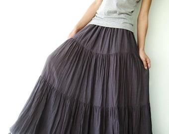 NO.5 Grey Lavender Cotton Gauze, Hippie Gypsy Boho Tiered Long Peasant Skirt