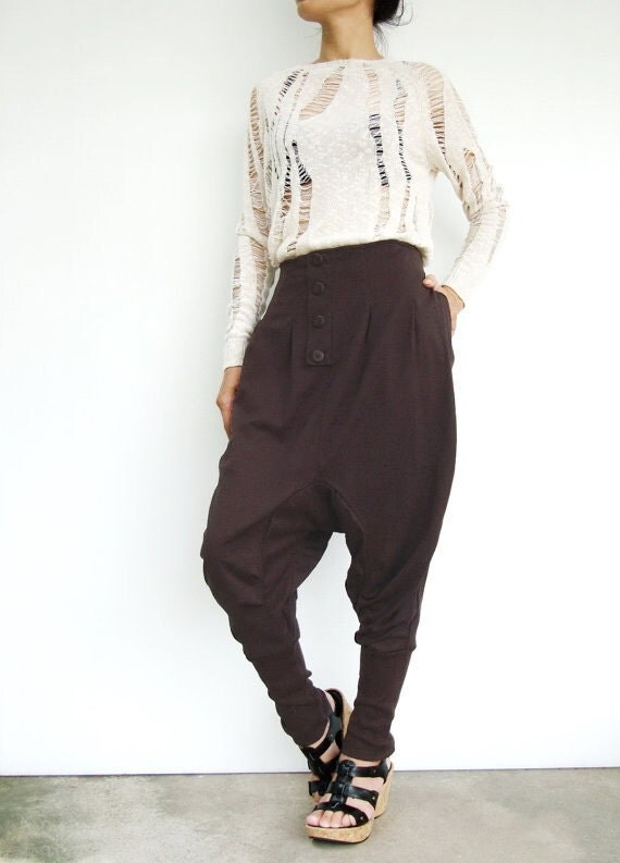 NO.64 Dark brown  Cotton Jersey Casual Baggy Dance Harem Pants, Stylish Button Fly Drop-Crotch Trousers, Unisex Pants