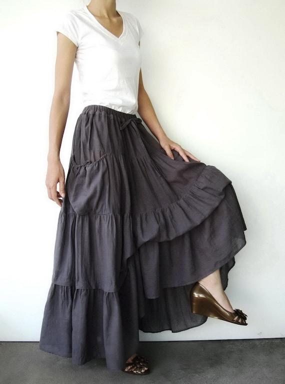 NO.42 Gray Lavender Cotton Maxi Skirt (2 Options skirt)