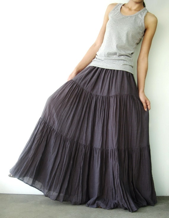 NO.5 Grey Lavender Cotton Gauze, Hippie Gypsy Boho Tiered Long Peasant Skirt
