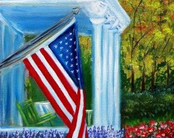 Memorial Day American Flag U.S.A. Patriotic Art 12 x 12 Original Oil Painting
