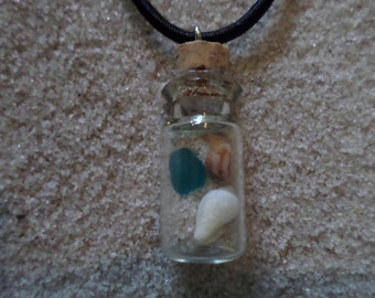 glass bottle necklace w. sea glass, shells & sand