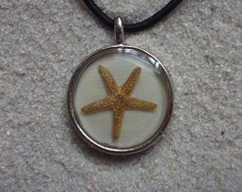 resin necklace beige w. starfish
