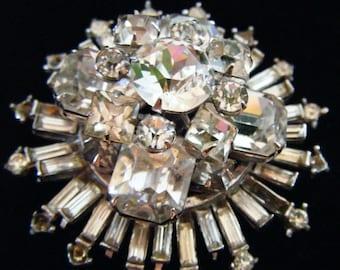 25% Off Storewide Sale Stunning Vintage Antique Estate Art Deco Stacked Crystals Rhinestones Brooch Pin