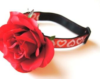 Red Rose Silk Flower Dog Collar Attachment