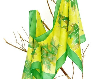 Silk scarf handpainted.tree leaves. Silk shawl. gift for her. 180x45cm.