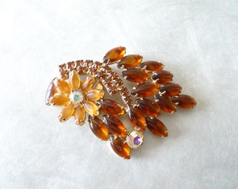 Amber Glass and Aurora Borealis Flower and Leaf Vintage Brooch