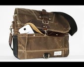 Waxed Canvas Messenger bag - handmade - FIELD TAN + BLACK + leather accents + military inspired 010028