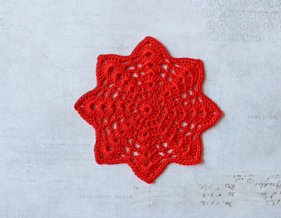 Crochet Coaster set of 4, Red cotton doily, snowflake, Christmas star,  Ready to ship