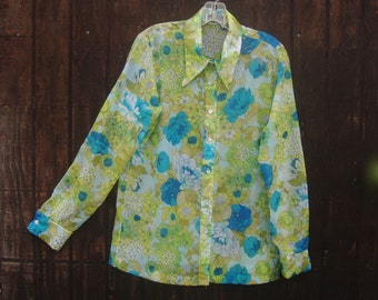 Vintage Sheer Crepe Floral Blouse 1970s Lady Winn by Teddi of California