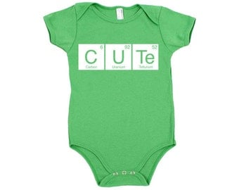 Cute Periodic Table Cotton Baby One Piece Bodysuit - Infant Girl and Boy