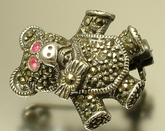 Vintage Art Deco style sterling silver, marcasite and paste teddy bear pin brooch - jewelry jewellery