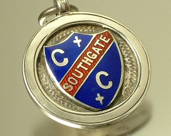 Antique Art Deco J A Wylie & Co, sterling silver / enamel watch chain fob pendant medal, Birmingham hallmark 1926 - West End Cycling